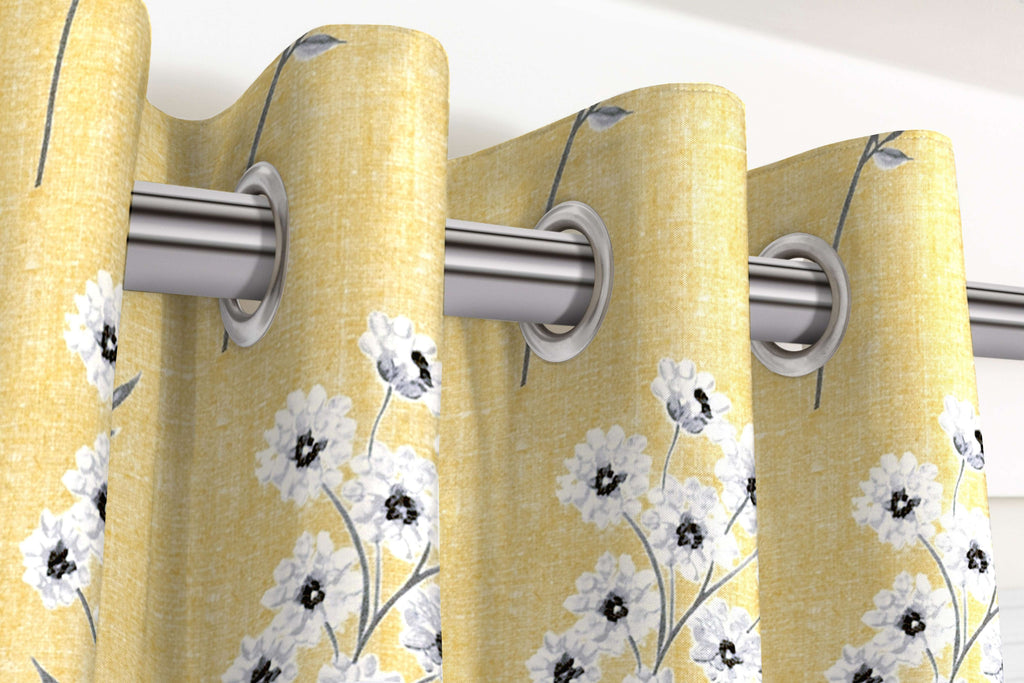 McAlister Textiles Meadow Yellow Floral Cotton Print Curtains Tailored Curtains