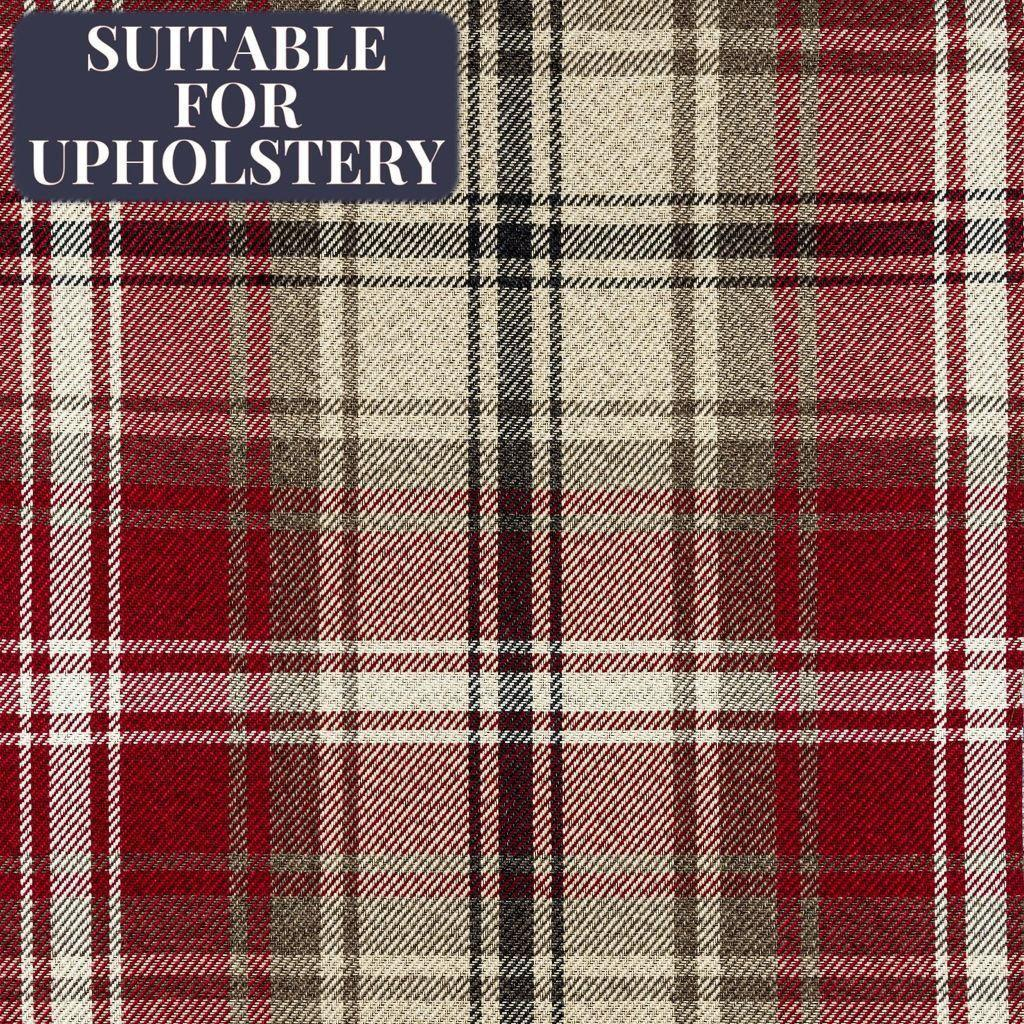 McAlister Textiles Angus Red + White Tartan Check Curtain Fabric Fabrics 1/2 Metre