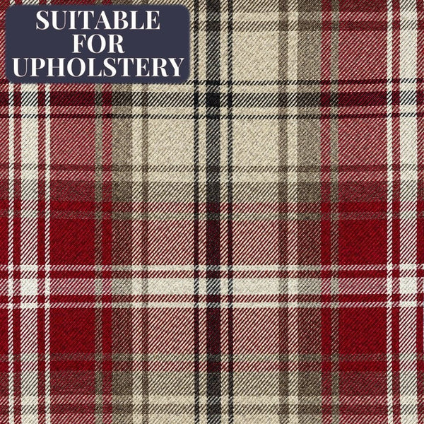 McAlister Textiles Angus Red + White Tartan Check Fabric Sample Fabrics