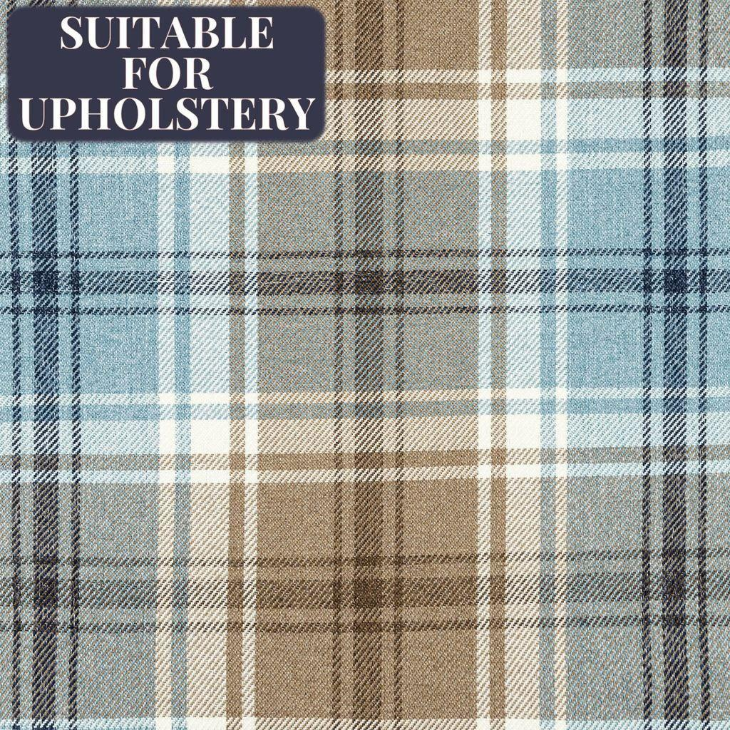 McAlister Textiles Angus Duck Egg Blue Tartan Check Curtain Fabric Fabrics