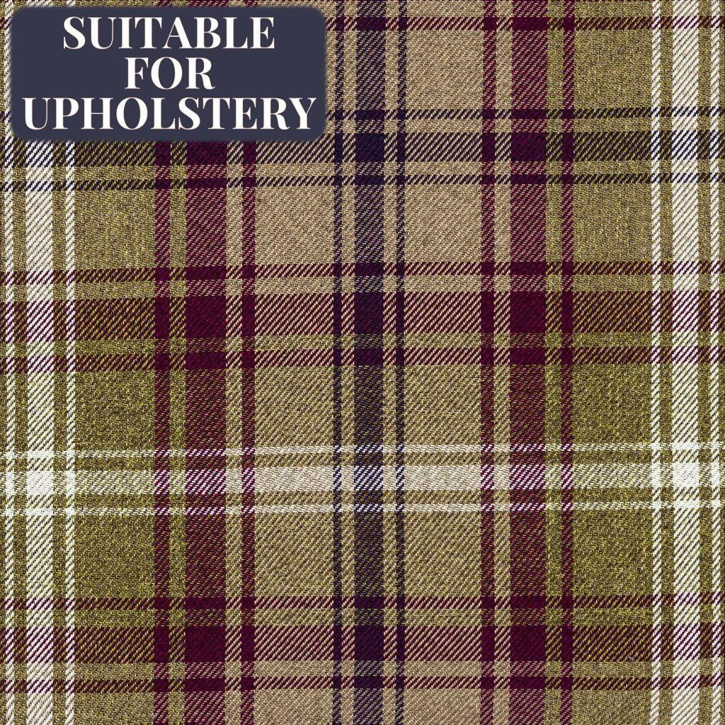 McAlister Textiles Angus Purple + Green Tartan Check Curtain Fabric Fabrics 1 Metre
