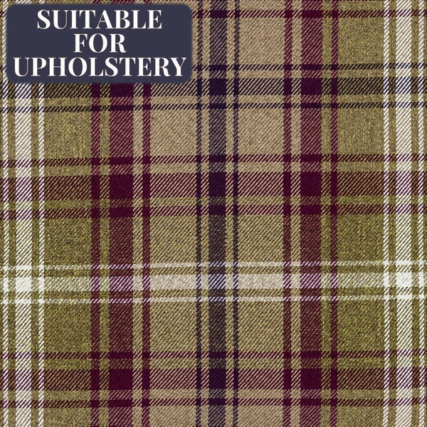 McAlister Textiles Angus Purple + Green Tartan Check Fabric Sample Fabrics