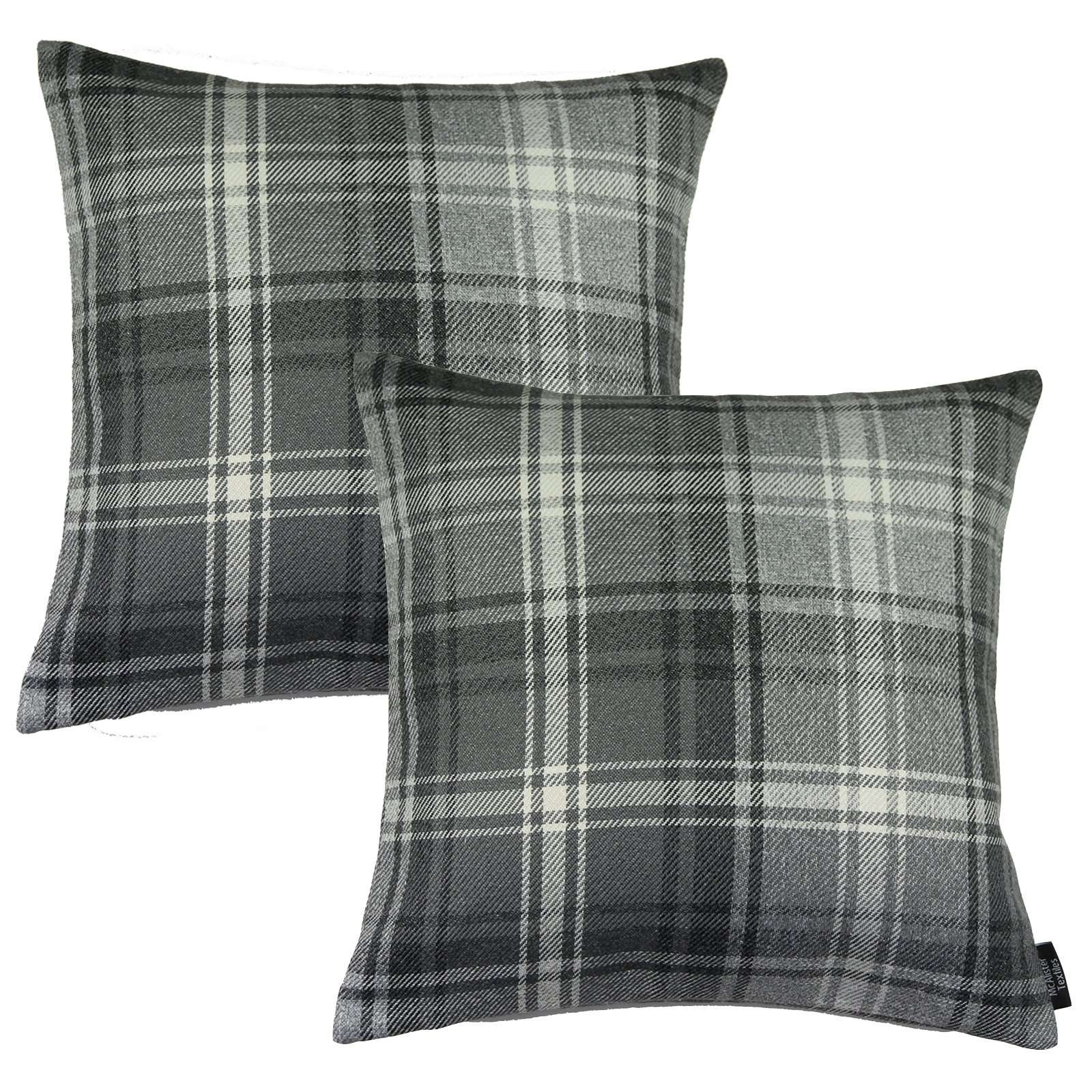 McAlister Textiles Angus Charcoal Grey Tartan 43cm x 43cm Cushion Sets Cushions and Covers Cushion Covers Set of 2