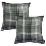 Charger l'image dans la galerie, McAlister Textiles Angus Charcoal Grey Tartan 43cm x 43cm Cushion Sets Cushions and Covers Cushion Covers Set of 2