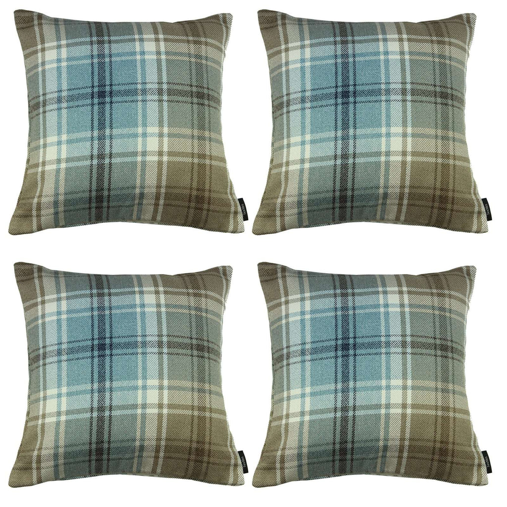 McAlister Textiles Angus Tartan Check Duck Egg Blue Cushion Set Cushions and Covers