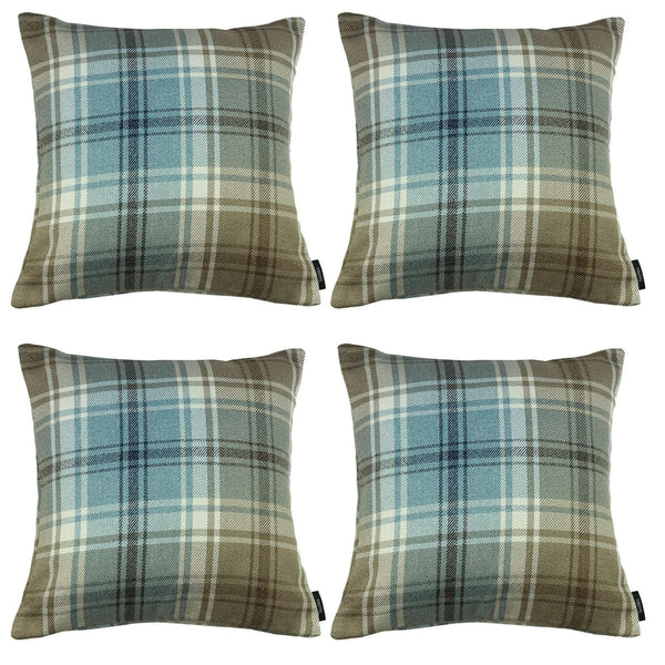 McAlister Textiles Angus Tartan Check Duck Egg Blue Cushion Set Cushions and Covers Cushion Covers Set of 4