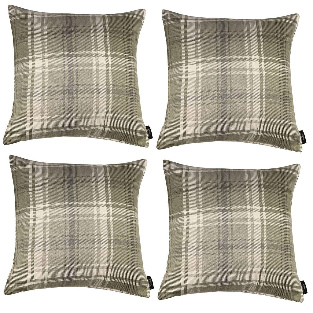McAlister Textiles Angus Tartan Check Beige Cream Cushion Set Cushions and Covers Cushion Covers Set of 4