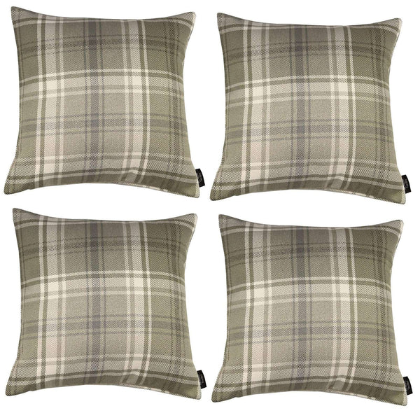 McAlister Textiles Angus Tartan Check Beige Cream Cushion Set Cushions and Covers