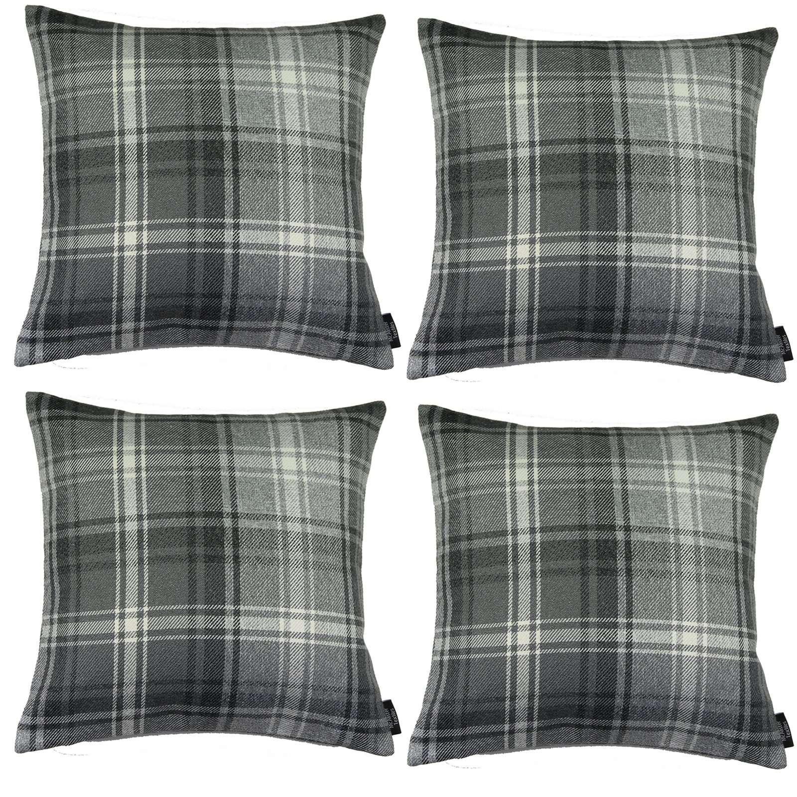 McAlister Textiles Angus Charcoal Grey Tartan 43cm x 43cm Cushion Sets Cushions and Covers Cushion Covers Set of 4