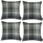 Charger l'image dans la galerie, McAlister Textiles Angus Charcoal Grey Tartan 43cm x 43cm Cushion Sets Cushions and Covers Cushion Covers Set of 4