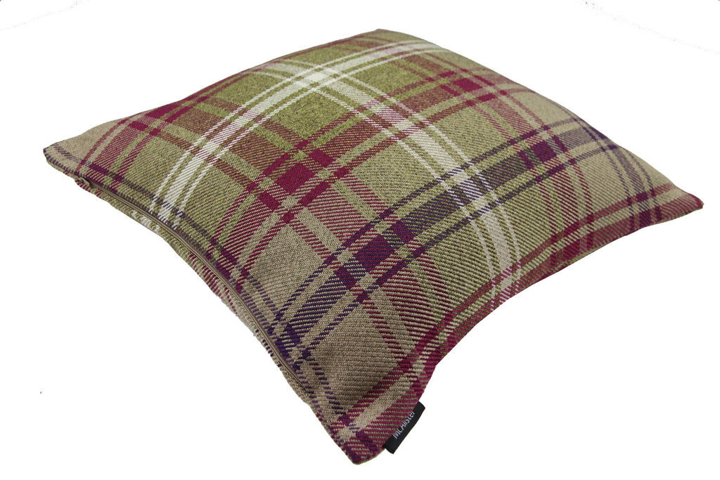McAlister Textiles Angus Purple + Green Tartan Pillow Pillow