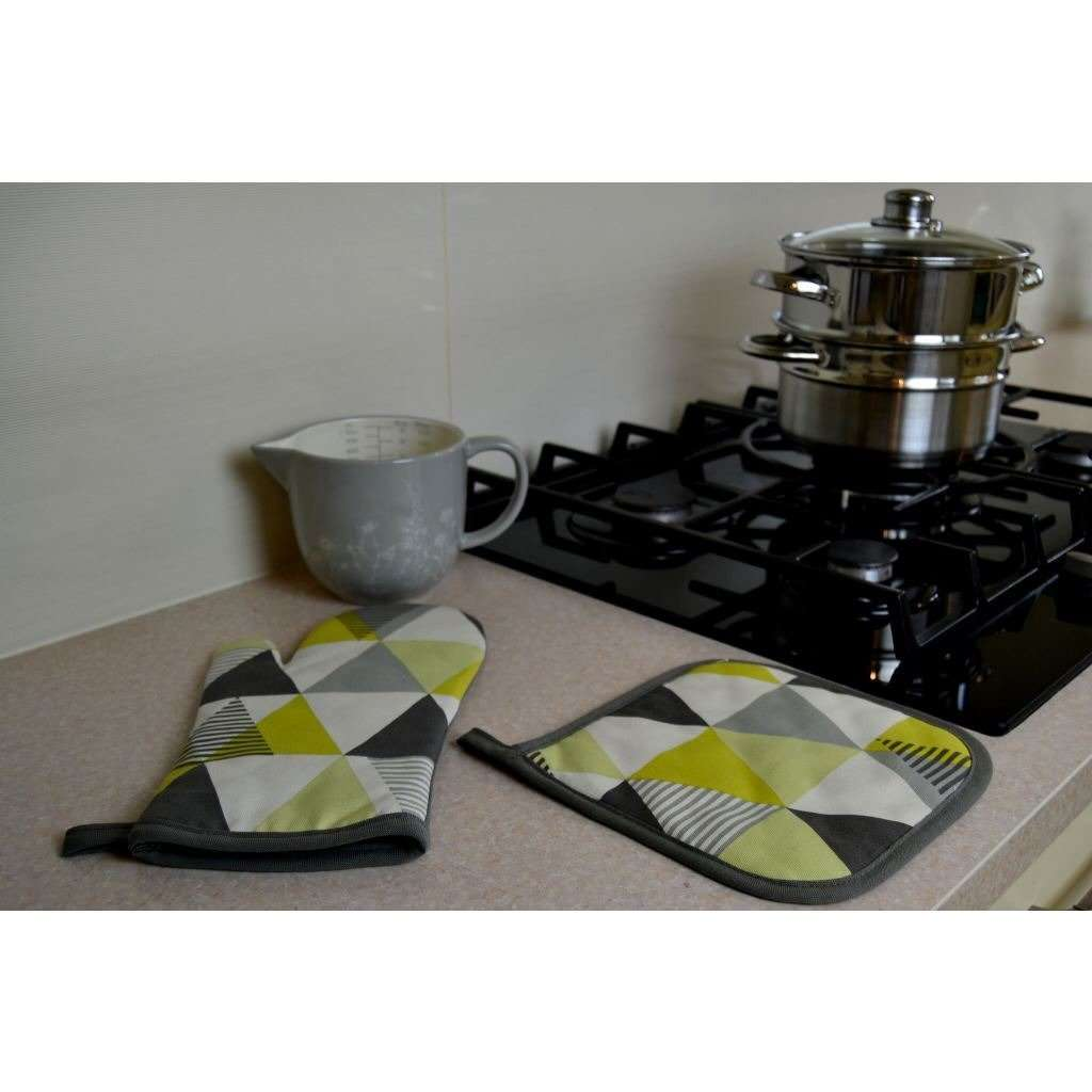McAlister Textiles Vita Yellow Cotton Print Single Oven Mitt Kitchen Accessories