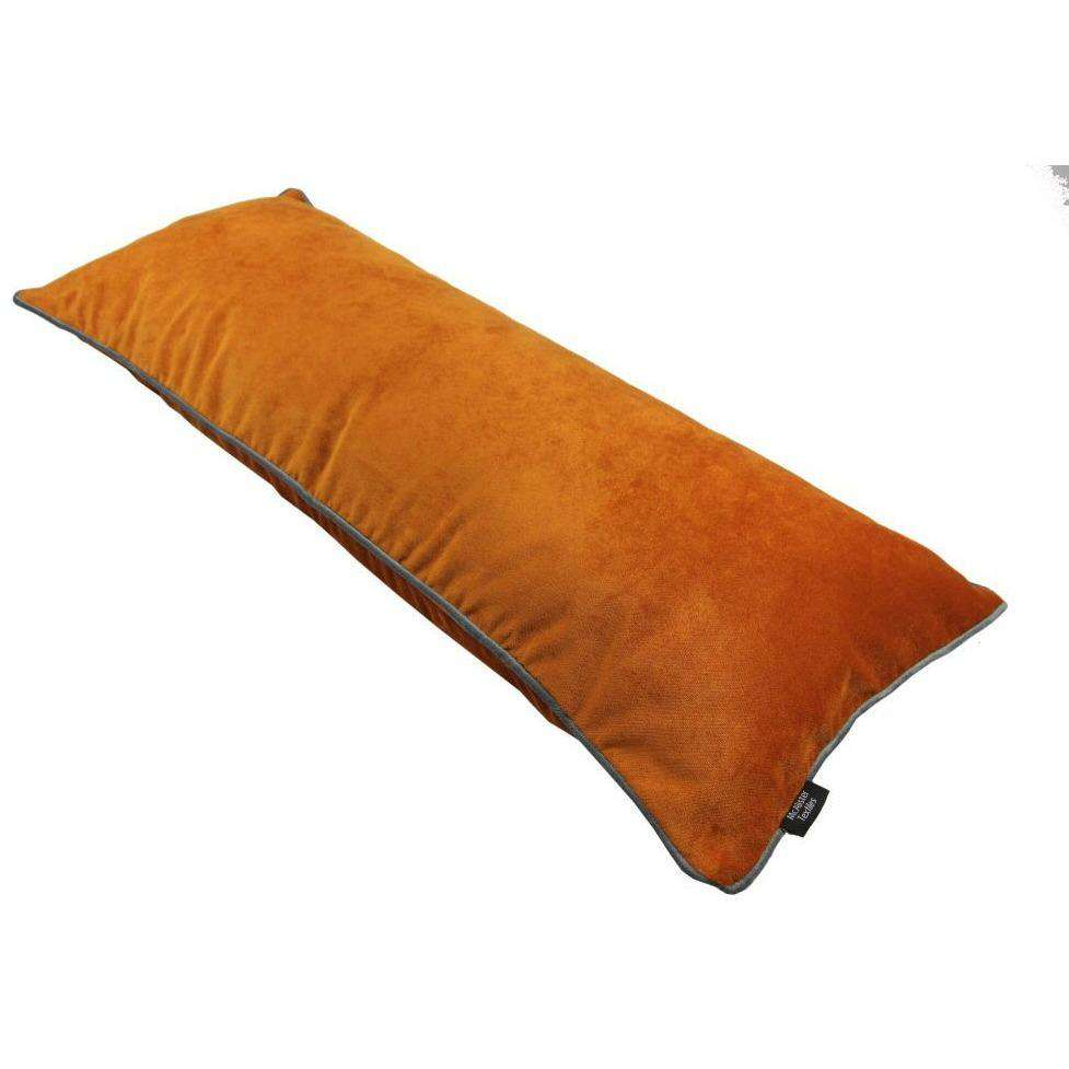 Mcalister Textiles Boutique Deluxe Matt Velvet Large Boudoir Pillow | Burnt Orange And Grey Cushions