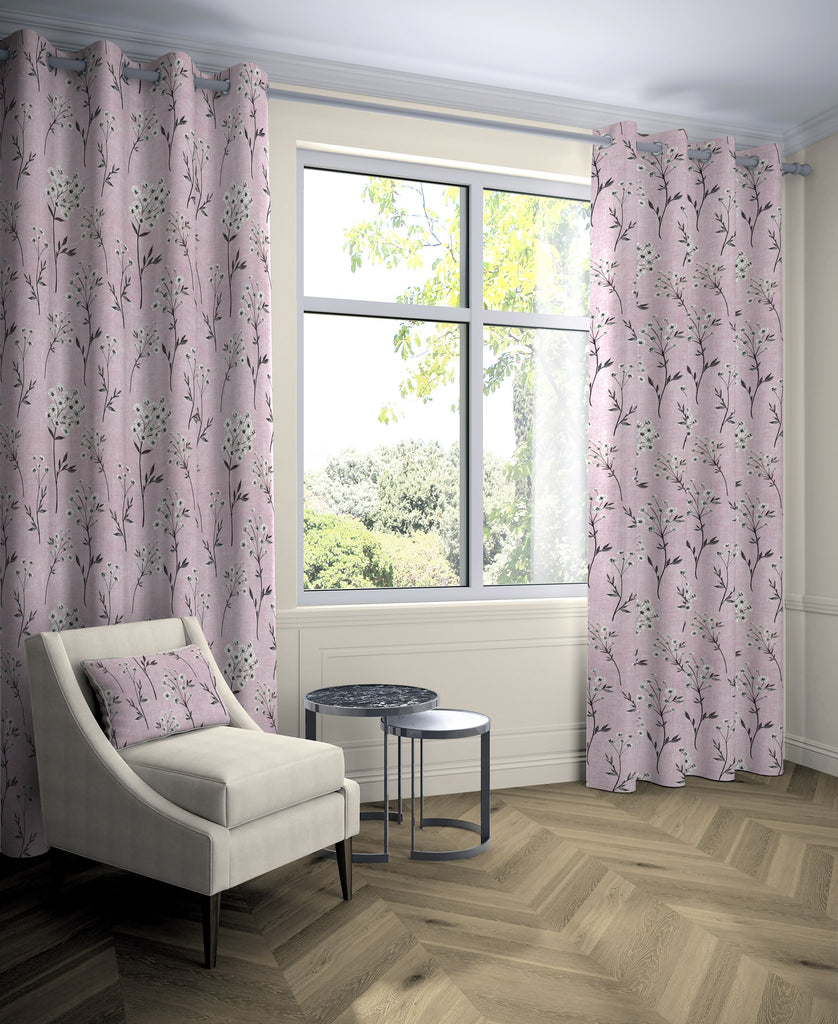 "McAlister Textiles Meadow Blush Pink Floral Cotton Print Curtains Tailored Curtains 116cm(w) x 137cm(d) (46"" x 54"")"