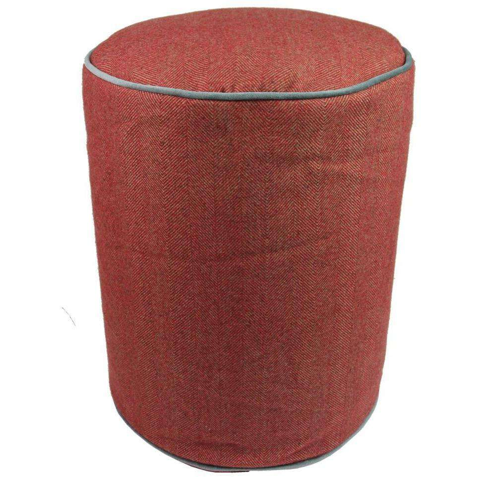 McAlister Textiles Boutique Deluxe Round Herringbone Footstool | Red and Charcoal Grey-Round Stool-
