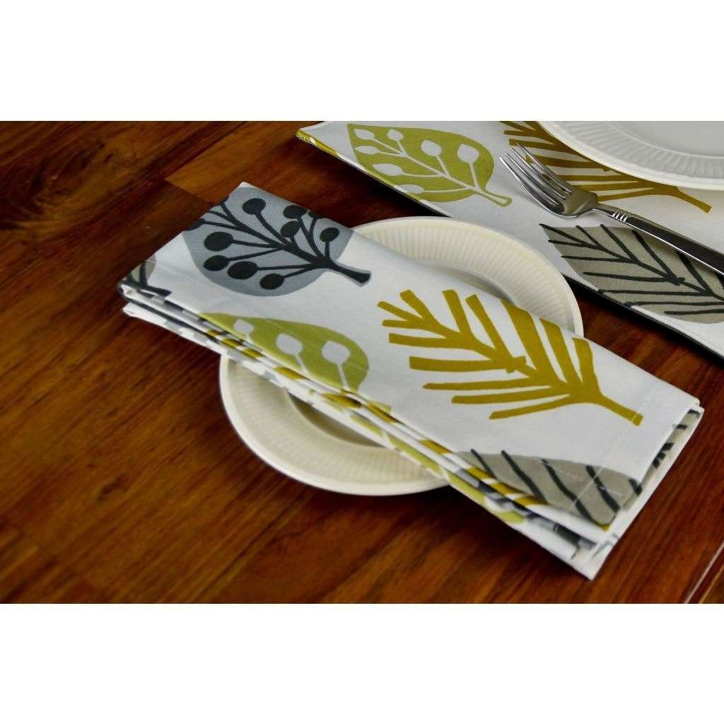 McAlister Textiles Magda Ochre Yellow Cotton Napkin Set Kitchen Accessories