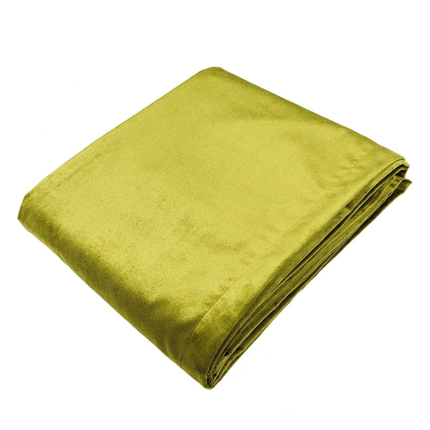 McAlister Textiles Lime Green Crushed Velvet Throws & Runners Throws and Runners Bed Runner (50cm x 240cm)