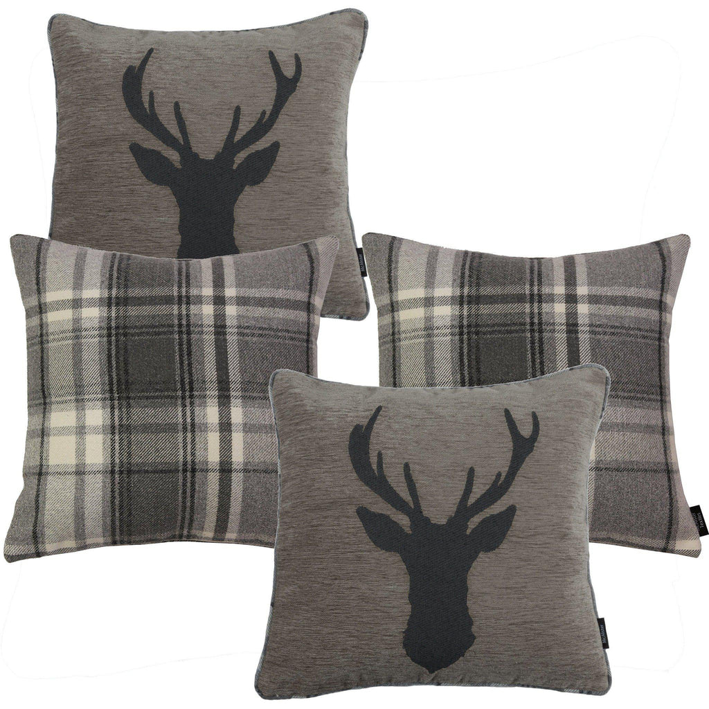 McAlister Textiles Stag Charcoal Grey Tartan 43cm x 43cm Cushion Set Cushions and Covers Filled Cushions