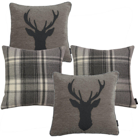 McAlister Textiles Tartan Stag + Heritage Cushion Set of 4 - Dark Grey-Cushions and Covers-
