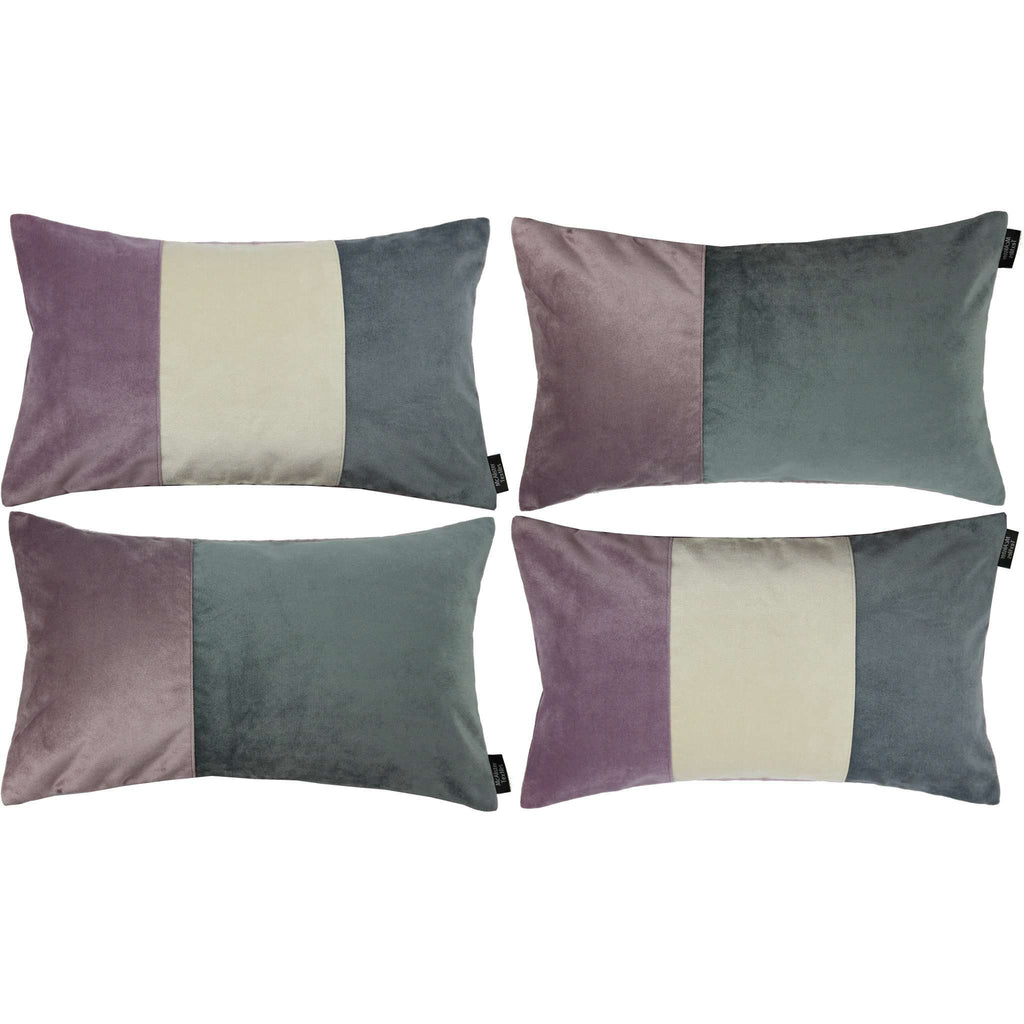 McAlister Textiles Patchwork Velvet Purple, Gold + Grey Pillow Set Pillow Set of 4 Cushion Covers