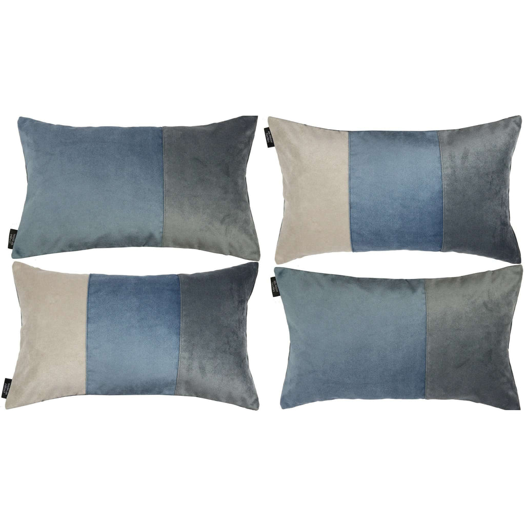 McAlister Textiles Patchwork Velvet Blue, Gold + Grey Pillow Set Pillow Set of 4 Cushion Covers