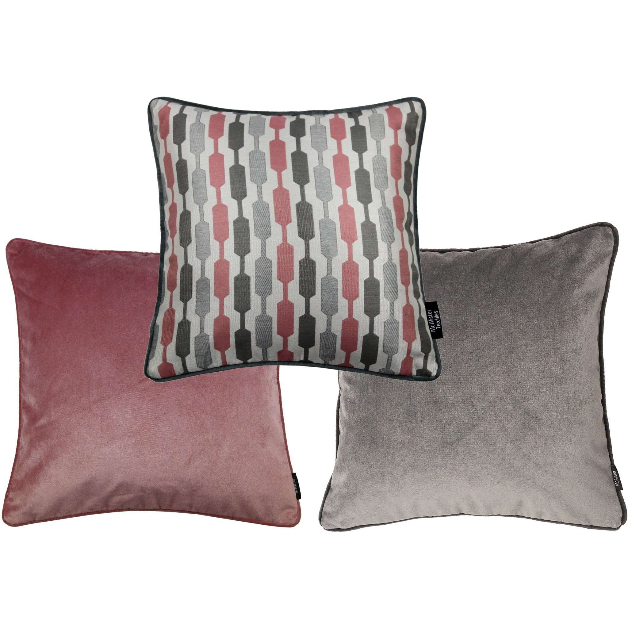 McAlister Textiles Blush Pink Geometric and Plain Velvet 43cm x 43cm Cushion Set of 3 Cushions and Covers Cushion Cover