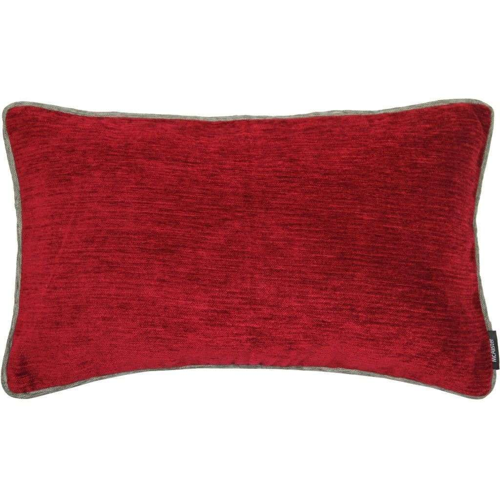 McAlister Textiles Alston Chenille Red + Grey Cushion Cushions and Covers Cover Only 50cm x 30cm
