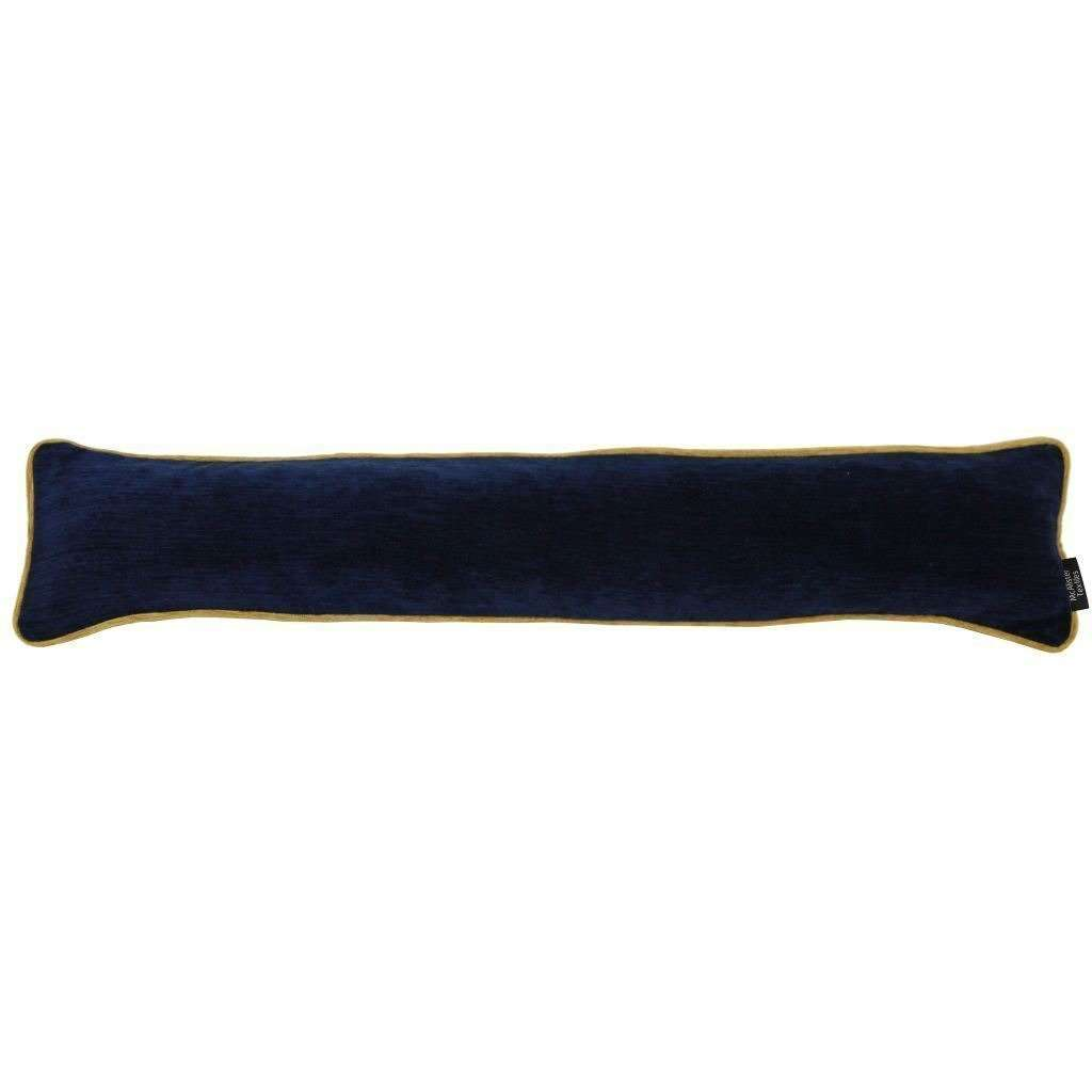 McAlister Textiles Alston Chenille Navy Blue + Yellow Draught Excluder Draught Excluders