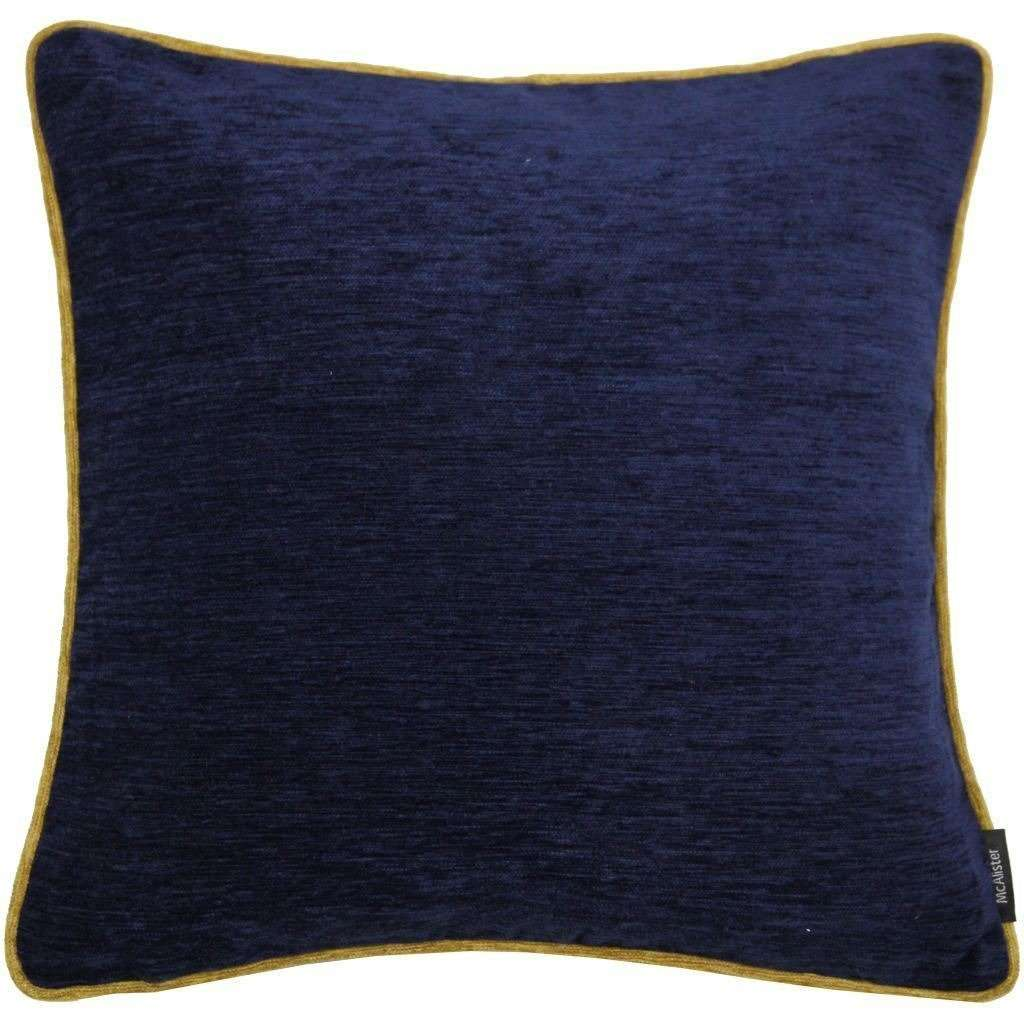 McAlister Textiles Alston Chenille Navy Blue + Yellow Cushion Cushions and Covers Cover Only 43cm x 43cm