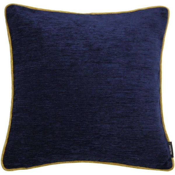 McAlister Textiles Alston Chenille Cushion - Navy Blue + Ochre-Cushions and Covers-Cover Only-43cm x 43cm-