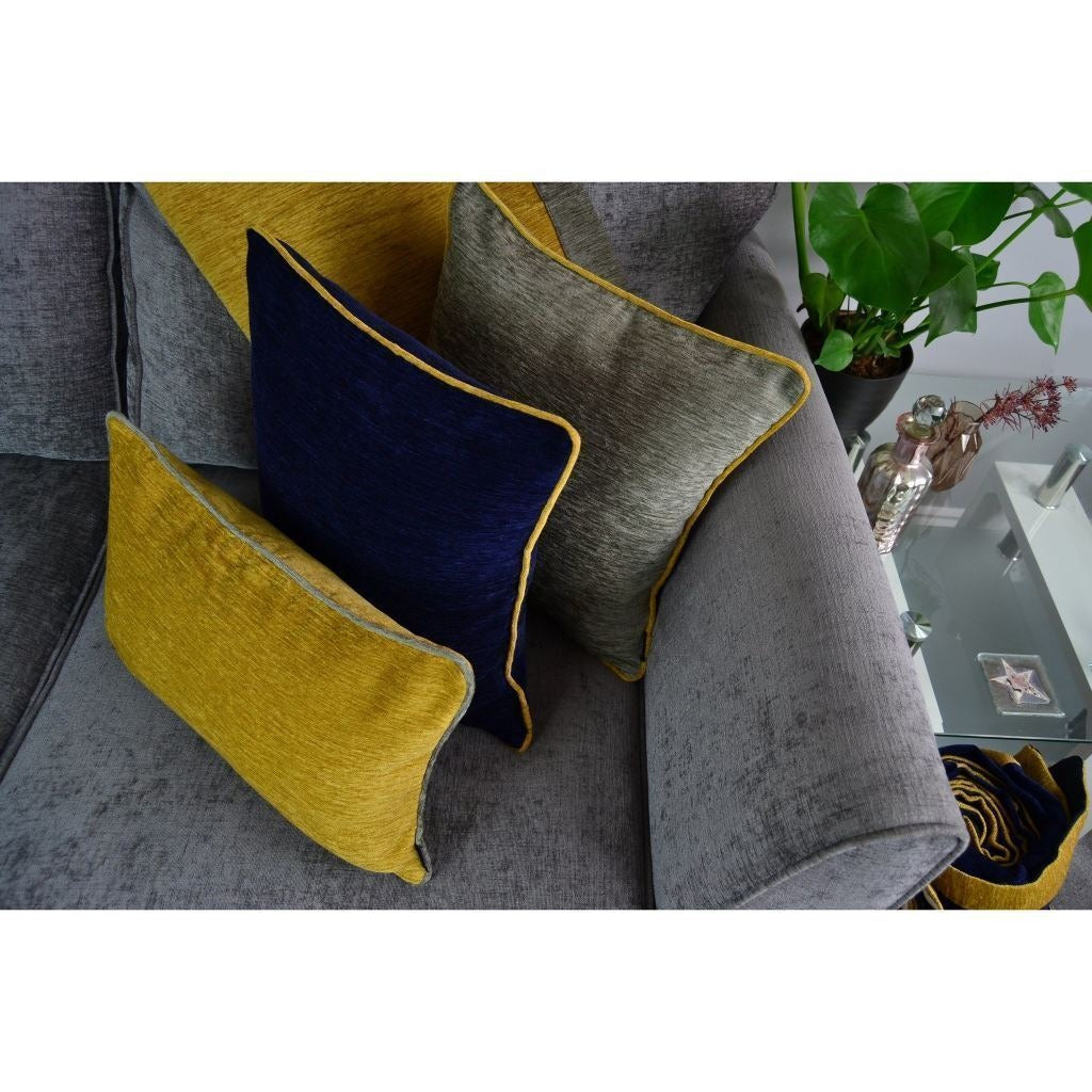 McAlister Textiles Alston Chenille Navy Blue + Yellow Cushion Cushions and Covers