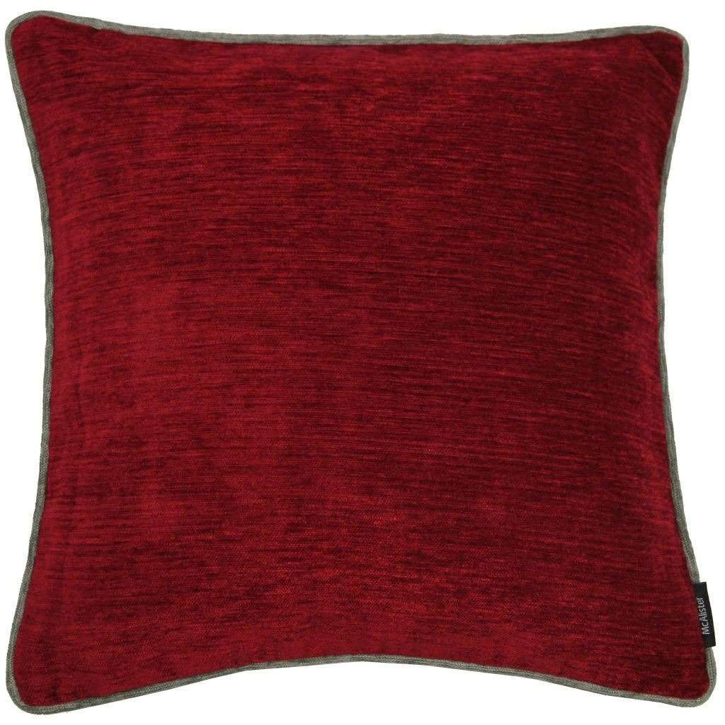McAlister Textiles Alston Chenille Red + Grey Cushion Cushions and Covers Cover Only 43cm x 43cm
