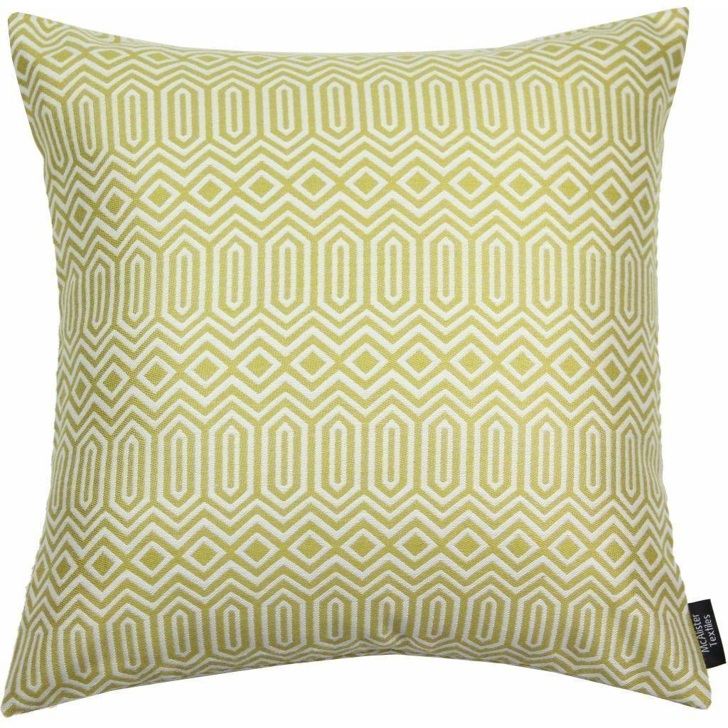 McAlister Textiles Colorado Geometric Yellow Cushion Cushions and Covers Polyester Filler 43cm x 43cm