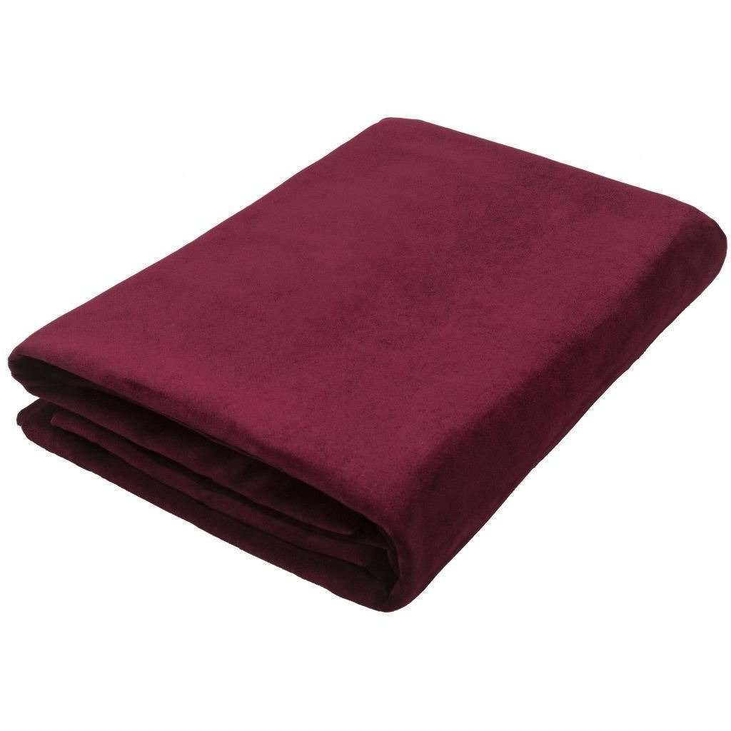 McAlister Textiles Matt Wine Red Velvet Throw Blankets & Runners Throws and Runners Regular (130cm x 200cm)