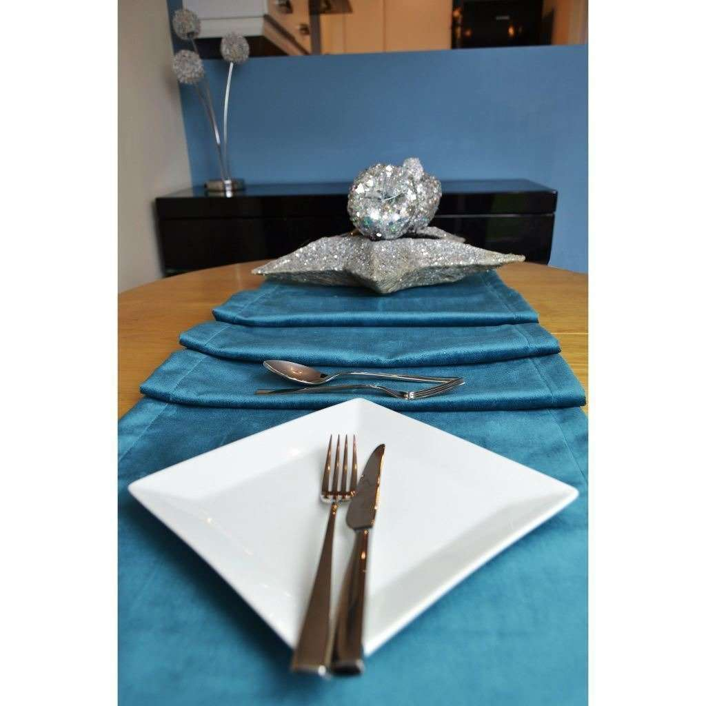 McAlister Textiles Matt Blue Teal Velvet Table Runner Throws and Runners