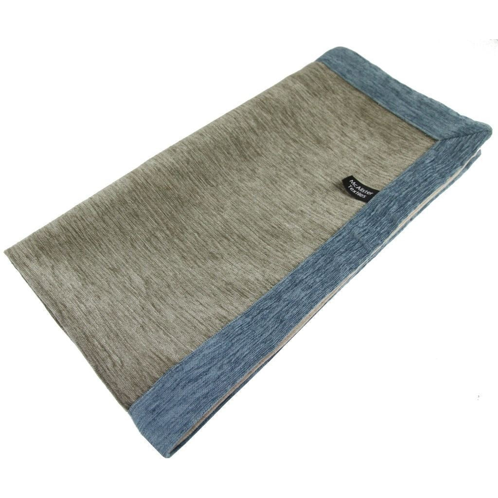 McAlister Textiles Alston Chenille Beige + Blue Throw Throws and Runners Regular (130cm x 200cm)