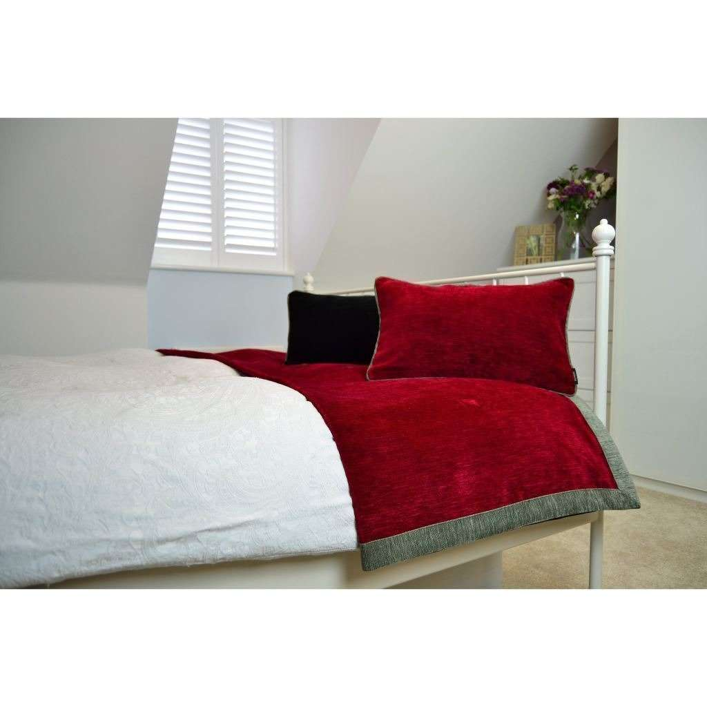 McAlister Textiles Alston Chenille Red + Grey Throw Throws and Runners