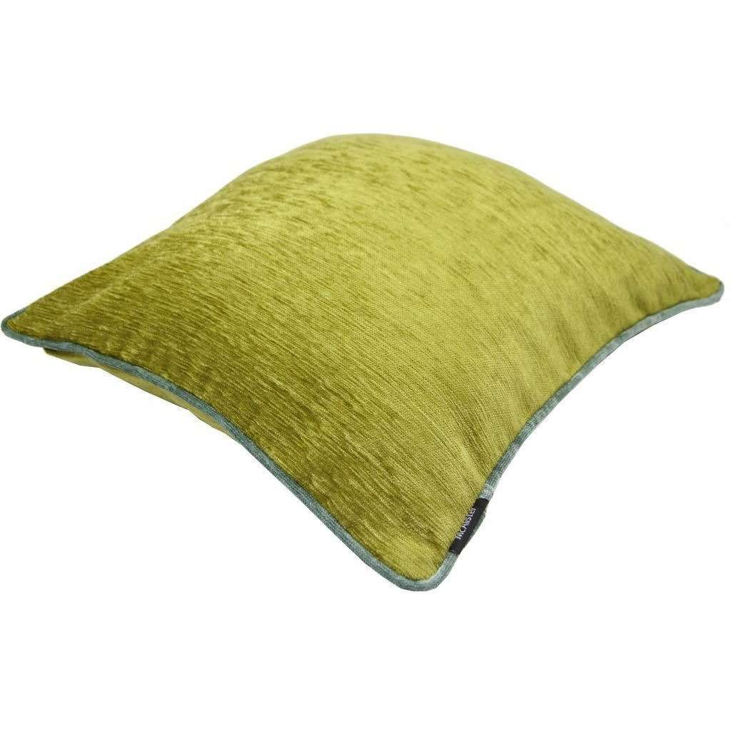 McAlister Textiles Alston Chenille Green + Duck Egg Blue Cushion Cushions and Covers