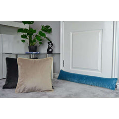 McAlister Textiles Duck Egg Blue Matt Velvet Draught Excluder-Doorstops-
