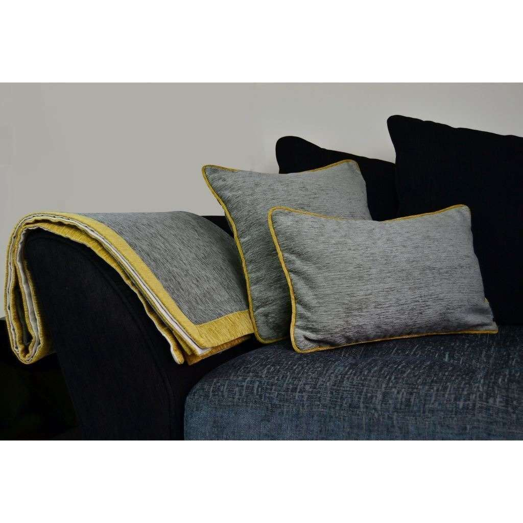 McAlister Textiles Alston Chenille Grey + Yellow Throw Throws and Runners