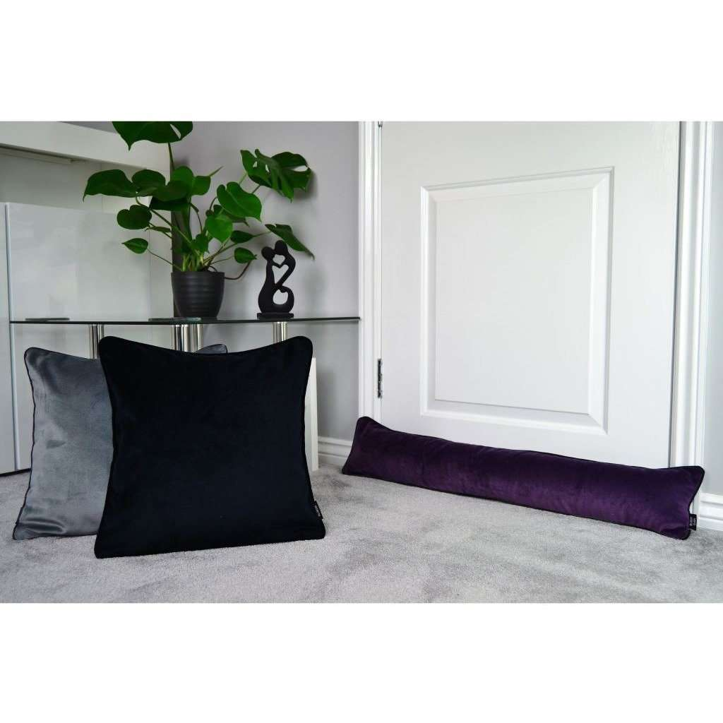 McAlister Textiles Matt Aubergine Purple Velvet Draught Excluder Draught Excluders