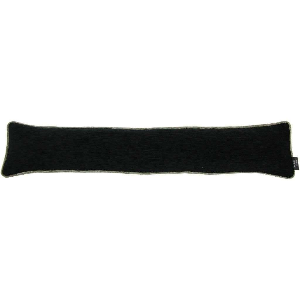 McAlister Textiles Alston Chenille Black + Grey Draught Excluder Draught Excluders