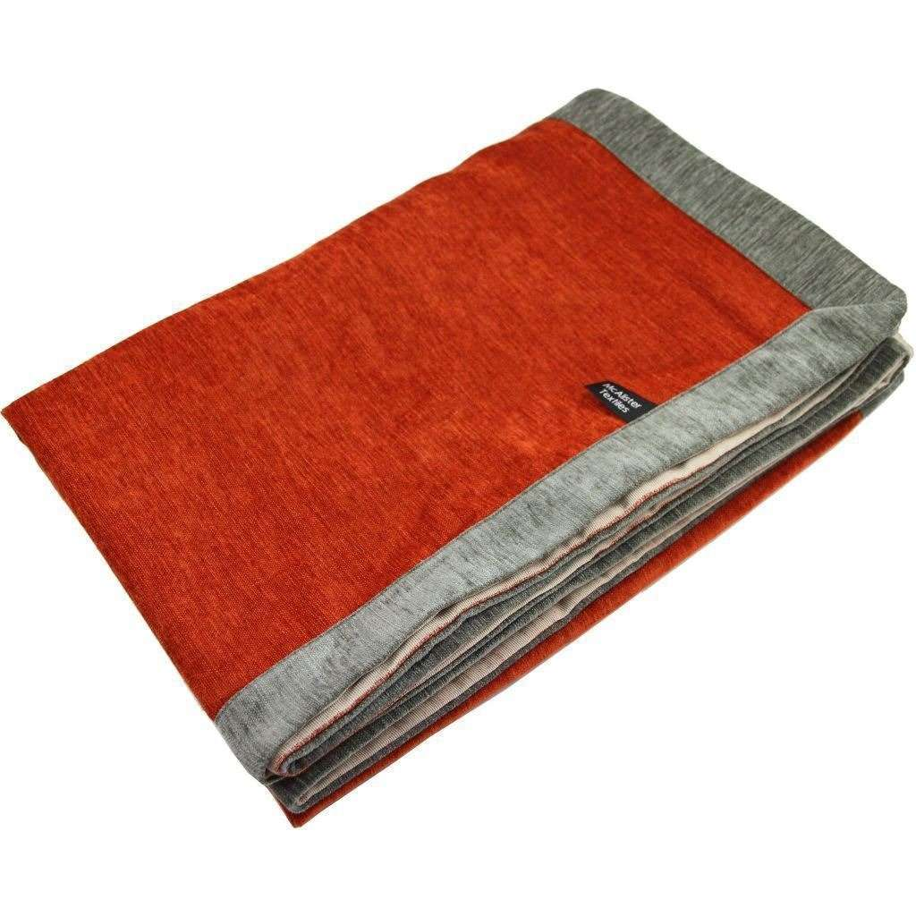 McAlister Textiles Alston Chenille Burnt Orange + Grey Throws & Runners Throws and Runners Regular (130cm x 200cm)