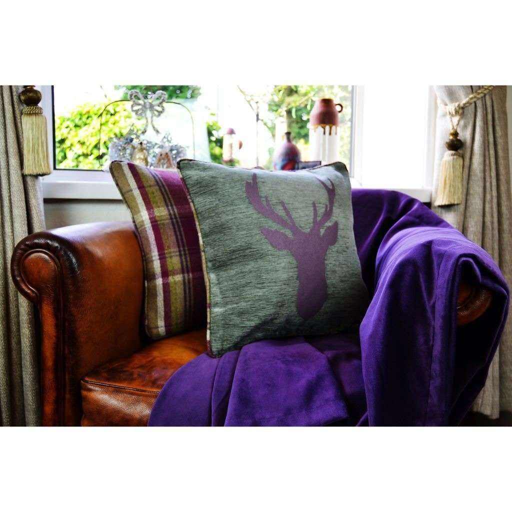 McAlister Textiles Matt Aubergine Purple Velvet Throw Blanket Throws and Runners