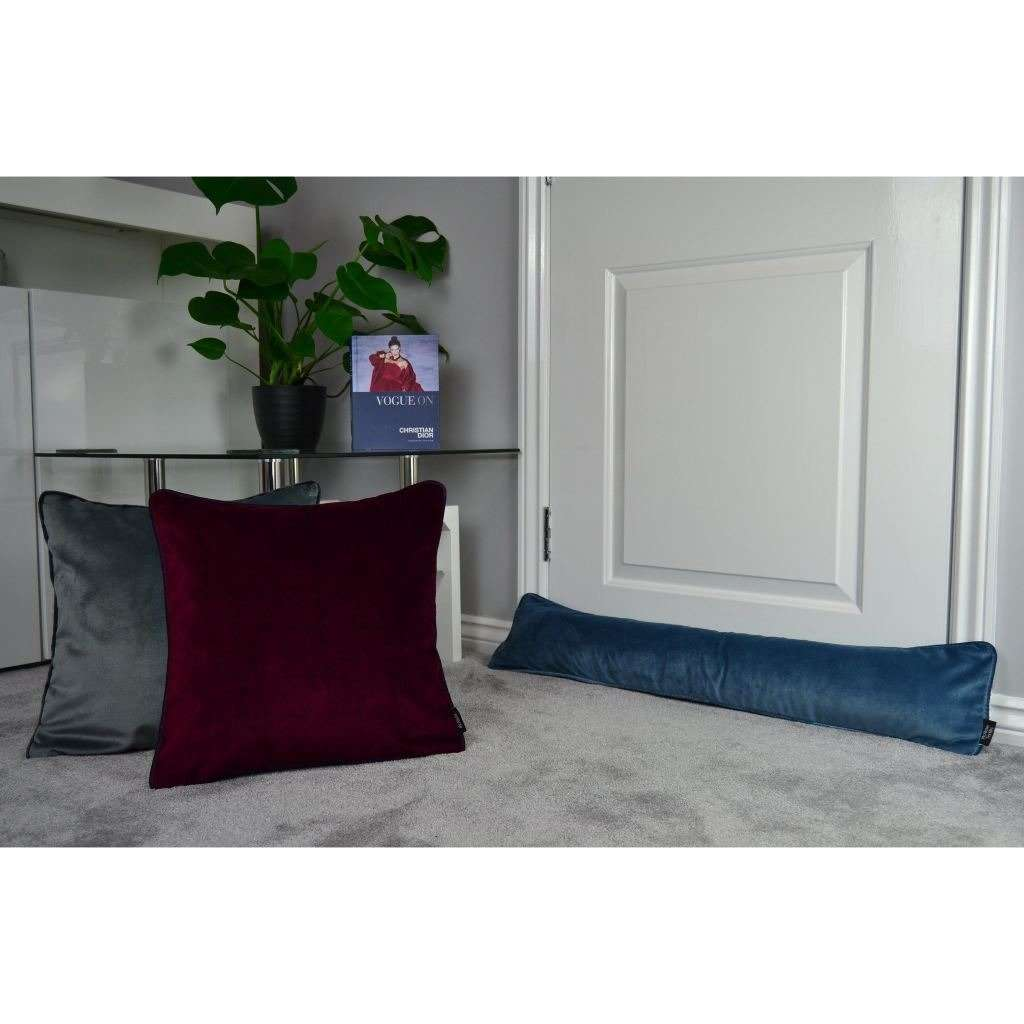 McAlister Textiles Matt Petrol Blue Velvet Draught Excluder Draught Excluders