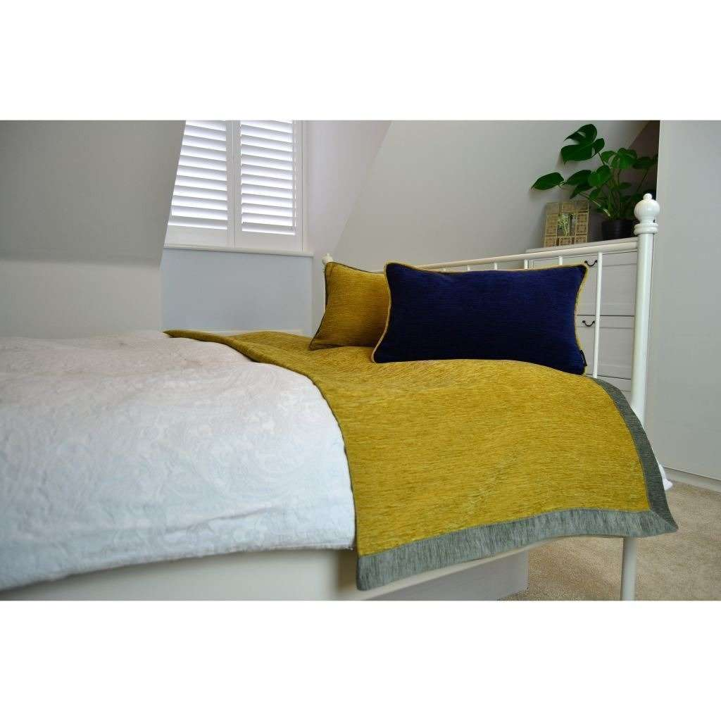 McAlister Textiles Alston Chenille Yellow + Grey Throw Throws and Runners