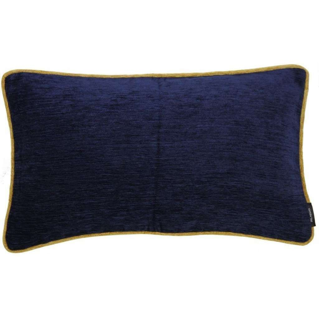 McAlister Textiles Alston Chenille Navy Blue + Yellow Cushion Cushions and Covers Cover Only 50cm x 30cm