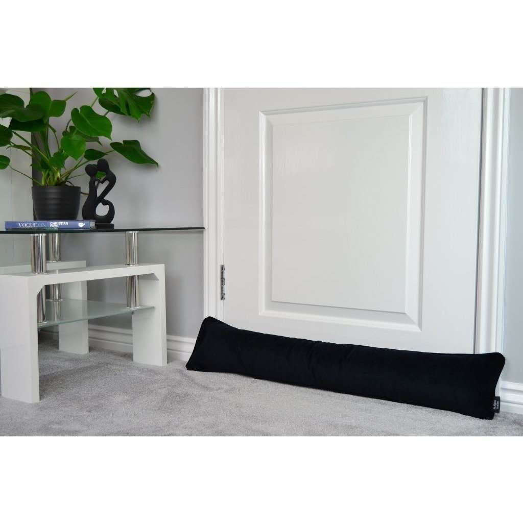 McAlister Textiles Matt Black Velvet Draught Excluder Draught Excluders