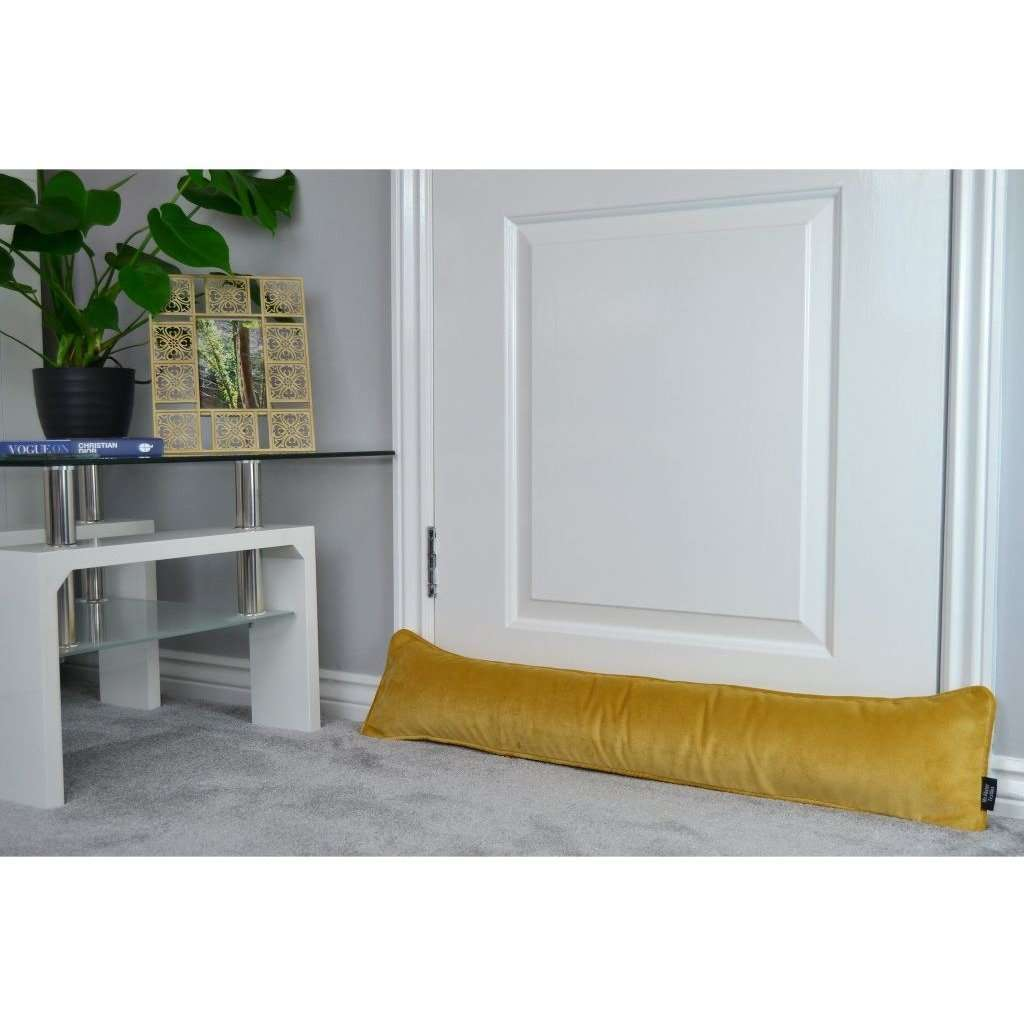McAlister Textiles Matt Ochre Yellow Velvet Draught Excluder Draught Excluders