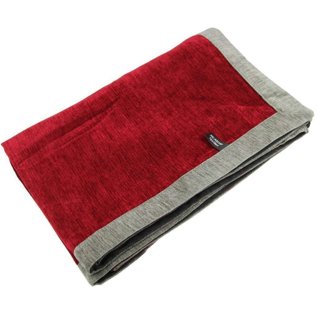 McAlister Textiles Alston Chenille Red + Grey Throws & Runners Throws and Runners Regular (130cm x 200cm)